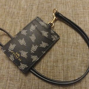 Coach Lanyard Leather Black Floral NWT